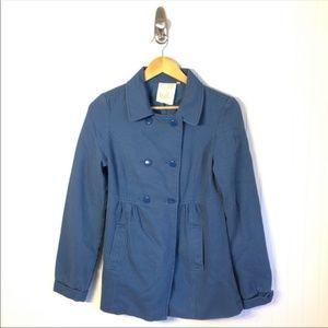 Anthropologie TULLE Blue Ribbed Peacoat Jacket